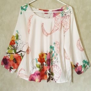 Sunny Leigh white floral watercolor blouse size XL